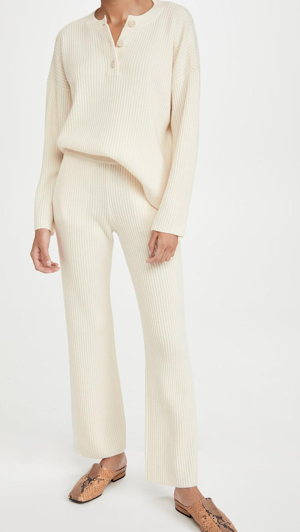 <p>We're just dreaming of lounging in this <span>Club Monaco Cashmere Blend Ribbed Pants</span> ($329) and <span>Henley Sweater</span> ($298).</p>