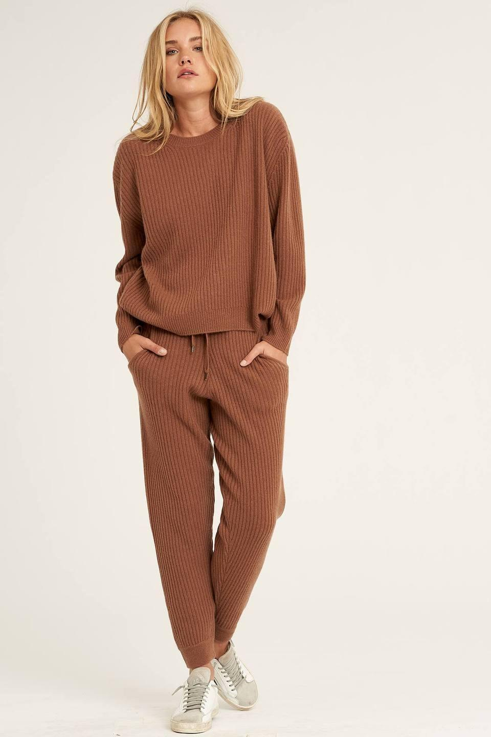 <p>The rust color of these ribbed <span>Naked Cashmere Aubrina Joggers</span> ($295) and <span>Campbell Sweater</span> ($295) is so chic.</p>