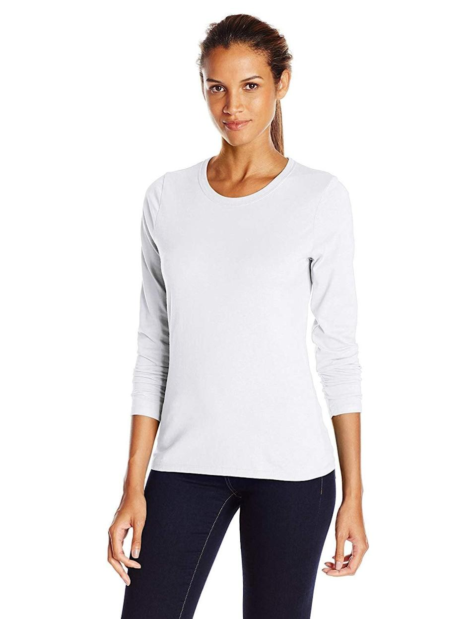 <p>This <span>Hanes Long-Sleeved Tee</span> ($7) makes for a great layering piece.</p>