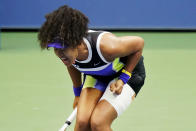FILE - In this Sept. 12, 2020, file photo, Naomi Osaka, of Japan, reacts during the women's singles final against Victoria Azarenka, of Belarus, at the U.S. Open tennis tournament in New York. Osaka has been selected by The Associated Press as the Female Athlete of the Year. (AP Photo/Frank Franklin II, File)