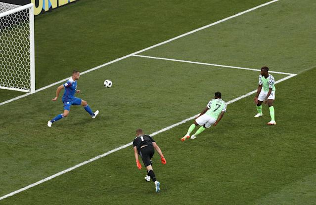 Soccer Football - World Cup - Group D - Nigeria vs Iceland - Volgograd Arena, Volgograd, Russia - June 22, 2018 Nigeria's Ahmed Musa scores their second goal REUTERS/Sergio Perez TPX IMAGES OF THE DAY