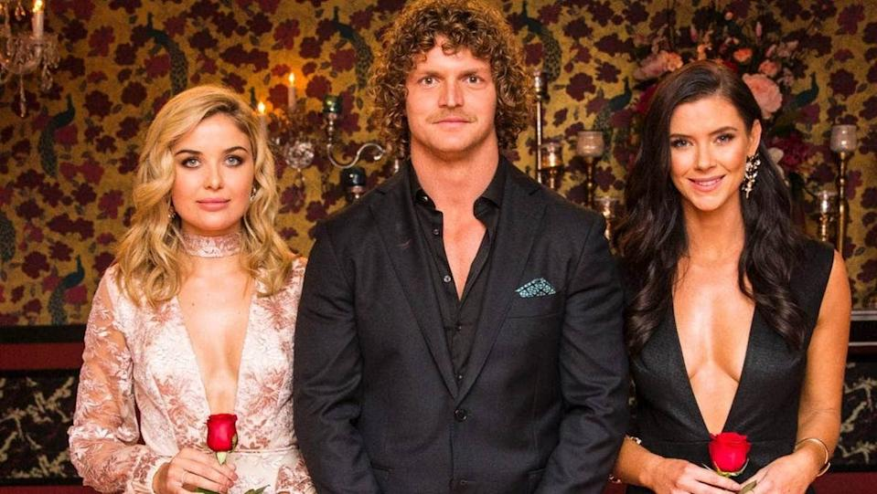 Sophie and Brittany were left shocked when Bachelor Nick Cummins chose neither of them Photo: Network 10