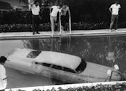 <p>Not quite sure how a car ended up in this Beverly Hills pool, but we really hope they had decent insurance. Next time try a parking lot.</p>