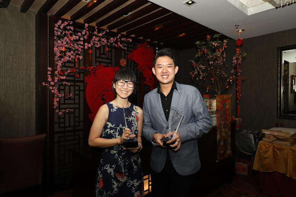 (From left) Youth Bowler of the Year Joey Yeo and Bowler of the Year Muhammad Jaris Goh at the Singapore Bowling Federation Awards Celebration dinner. (PHOTO: Singapore Bowling Federation)