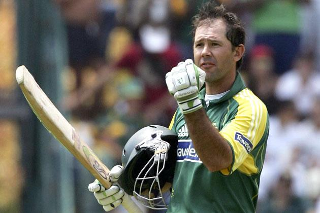 JOHANNESBURG, SOUTH AFRICA - MARCH 12:  Ricky Ponting of Australia reaches his century during the fifth One Day International between South Africa and Australia played at Wanderers Stadium on March 12, 2006 in Johannesburg, South Africa.  (Photo by Hamish Blair/Getty Images)