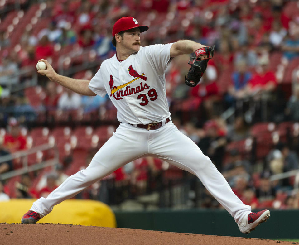 St. Louis Cardinal starting pitcher Mile Mikolas throws during the first inning of a baseball game against the Miami Marlins, Monday, June 17, 2019, in St. Louis. (AP Photo/L.G. Patterson)