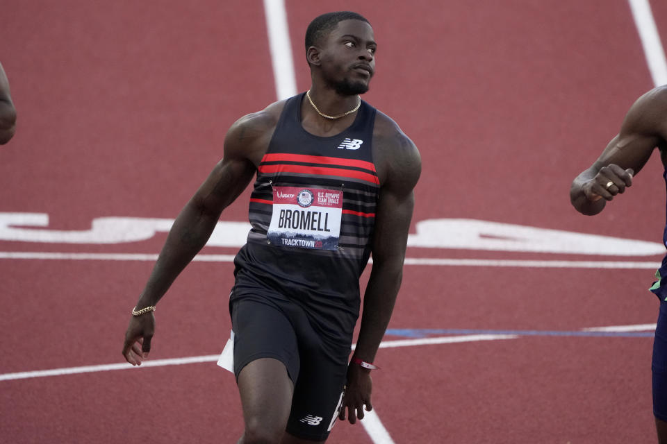 Trayvon Bromell wins the first semi-final of the men's 100-meter run at the U.S. Olympic Track and Field Trials Sunday, June 20, 2021, in Eugene, Ore. (AP Photo/Chris Carlson)