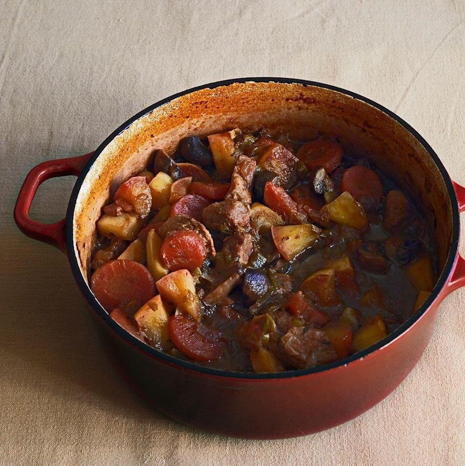 """<p>This pork <a href=""""https://www.delish.com/uk/cooking/recipes/a30621596/sausage-casserole-slow-cooker/"""" rel=""""nofollow noopener"""" target=""""_blank"""" data-ylk=""""slk:casserole"""" class=""""link rapid-noclick-resp"""">casserole</a> is comfort food to the max. The honey-glazed apples add a delicious fruity sweetness to this rich and hearty <a href=""""https://www.delish.com/uk/cooking/recipes/g34246240/pork-mince-recipes/"""" rel=""""nofollow noopener"""" target=""""_blank"""" data-ylk=""""slk:pork"""" class=""""link rapid-noclick-resp"""">pork</a> and ale casserole. Feel free to use any soft herbs you like in the mash.</p><p>Get the <a href=""""https://www.delish.com/uk/cooking/recipes/a35305688/pork-casserole/"""" rel=""""nofollow noopener"""" target=""""_blank"""" data-ylk=""""slk:Pork & Ale Casserole With Honey-Glazed Apples"""" class=""""link rapid-noclick-resp"""">Pork & Ale Casserole With Honey-Glazed Apples</a> recipe. </p>"""