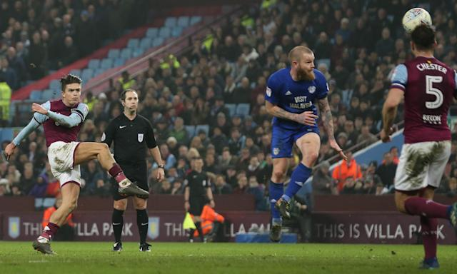 Jack Grealish scores his volleyed winner against Cardiff City at Villa Park.