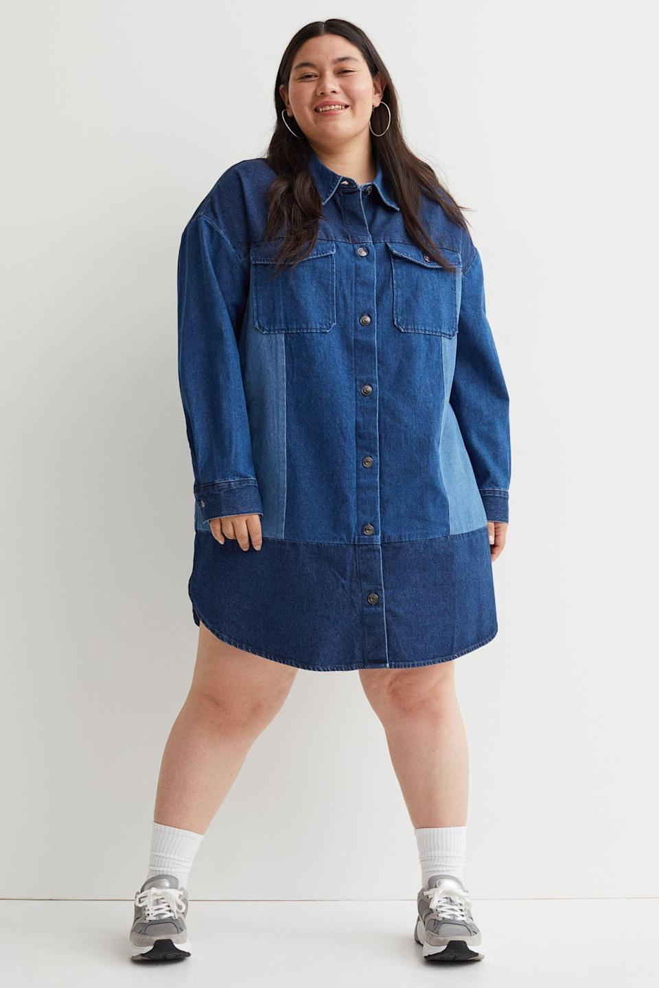 <p>We love the patches on this <span>H&amp;M+ Shirt Dress</span> ($35), which adds a nice visual effect. Pair it with sneakers or Chelsea boots for an effortless and laidback look.</p>