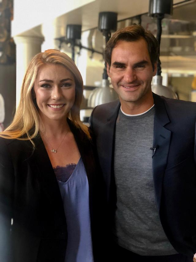 U.S. Alpine skier Mikaela Shiffrin poses with Swiss tennis star Roger Federer during a sponsor's event in Chicago, Illinois, U.S., September 18, 2018. Megan Harrod/U.S. Ski & Snowboard/Handout via REUTERS ATTENTION EDITORS - THIS IMAGE WAS PROVIDED BY A THIRD PARTY. NO RESALES, NO ARCHIVE