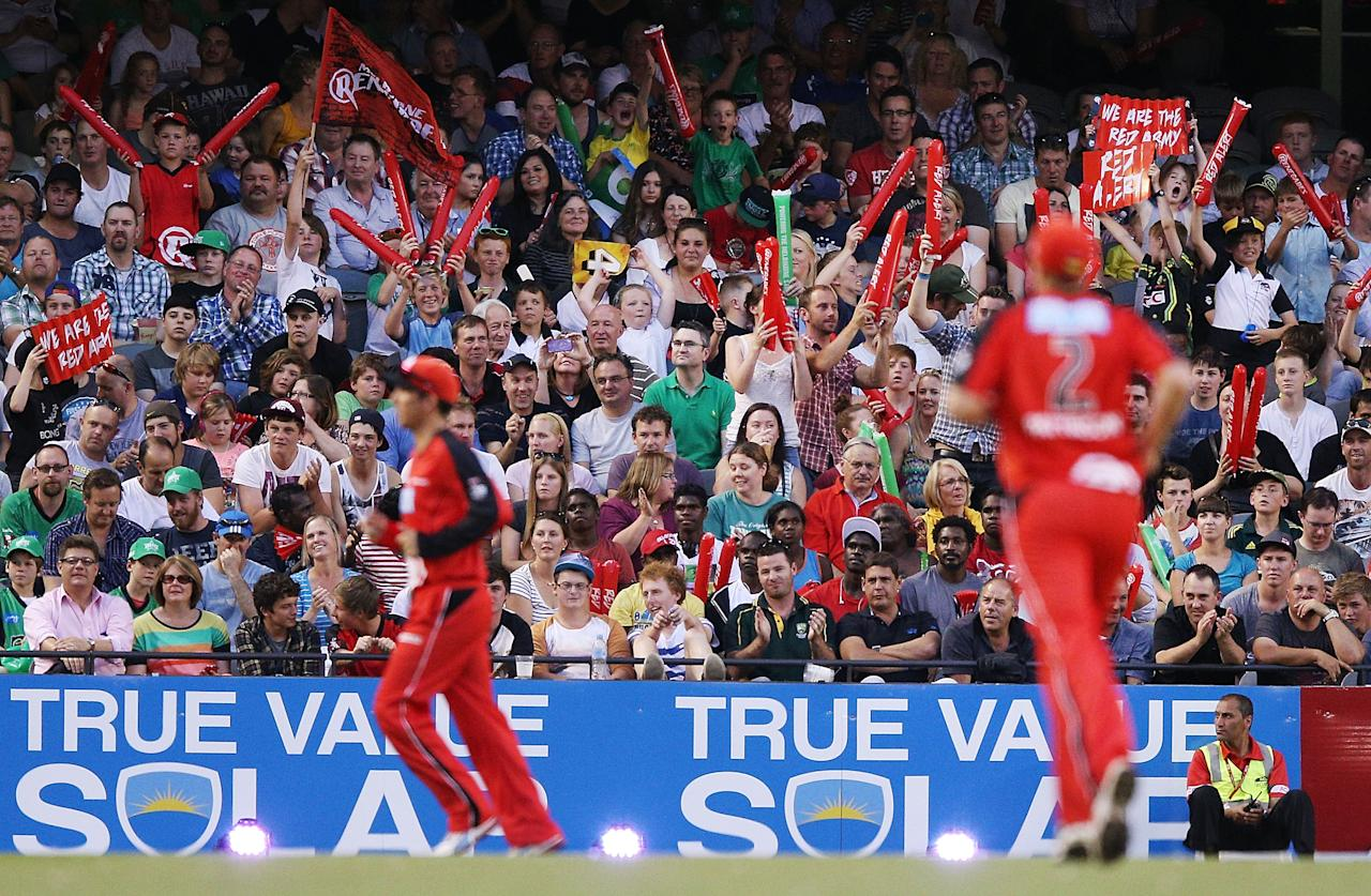 MELBOURNE, AUSTRALIA - DECEMBER 07: Renegade fans celebrate a wicket during the Big Bash League match between the Melbourne Renegades and the Melbourne Stars at Etihad Stadium on December 7, 2012 in Melbourne, Australia.  (Photo by Michael Dodge/Getty Images)