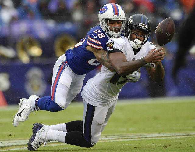 <p>Buffalo Bills defensive back Phillip Gaines (28) breaks up a pass intended for Baltimore Ravens wide receiver Michael Crabtree (15) during the first half of an NFL football game between the Baltimore Ravens and the Buffalo Bills, Sunday, Sept. 9, 2018 in Baltimore. (AP Photo/Nick Wass) </p>