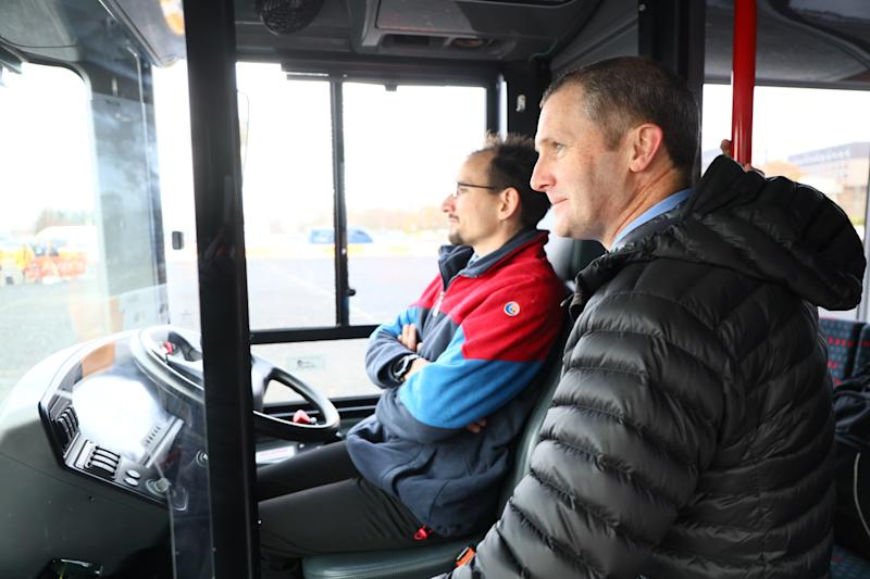 Transport Secretary Michael Matheson in the self-driving bus (Stagecoach/PA)