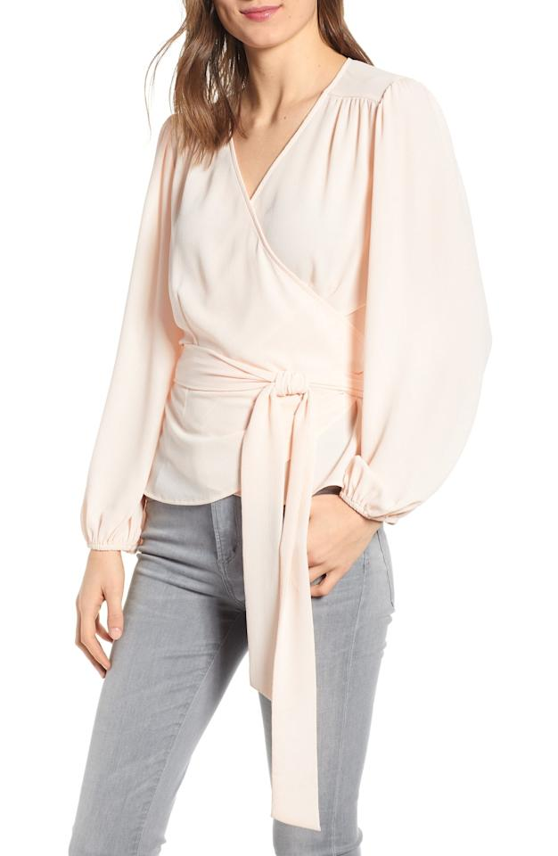 "$79, Nordstrom. <a href=""https://click.linksynergy.com/deeplink?id=3r4YdkDiq/o&mid=1237&u1=NordstromSpringSale16&murl=https%3A%2F%2Fshop.nordstrom.com%2Fs%2Fchelsea28-wrap-top%2F5303615%3Forigin%3Dcategory-personalizedsort%26breadcrumb%3DHome%252FSale%252FWomen%26color%3Dpink%2520wood"">Get it now!</a>"