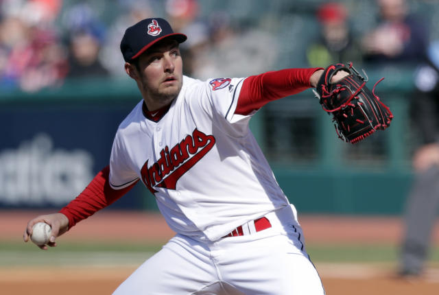 Cleveland Indians starting pitcher Trevor Bauer delivers in the first inning of a baseball game against the Kansas City Royals, Saturday, April 7, 2018, in Cleveland. (AP Photo/Tony Dejak)