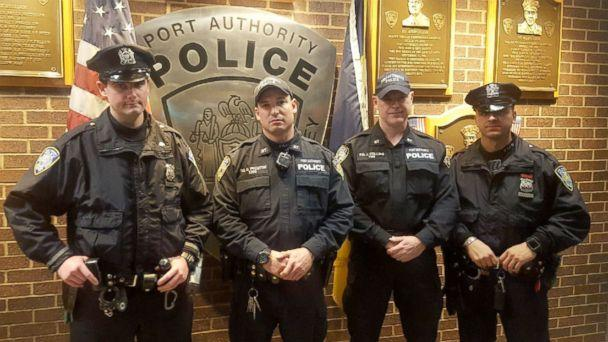 PHOTO: The The Port Authority Police Department officers involved in apprehending a terror suspect in New York City Dec. 11, 2017. L to R: Sean E. Gallagher, Drew M. Preston, John F. (Jack) Collins, Anthony J. Manfredini (Port Authority Police Benevolent Association)