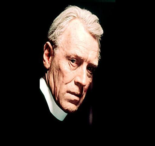 "Max von Sydow as Father Merrin from movie ""The Exorcist"", photo on black"