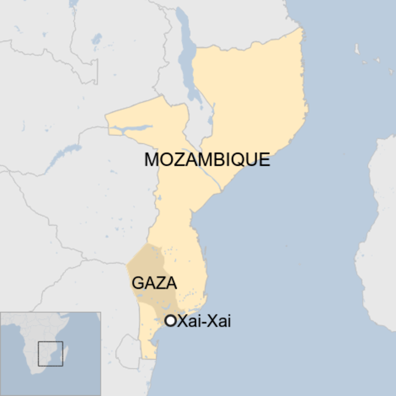 Map: A map showing the city of Xai-Xai in the southern province of Gaza in Mozambique