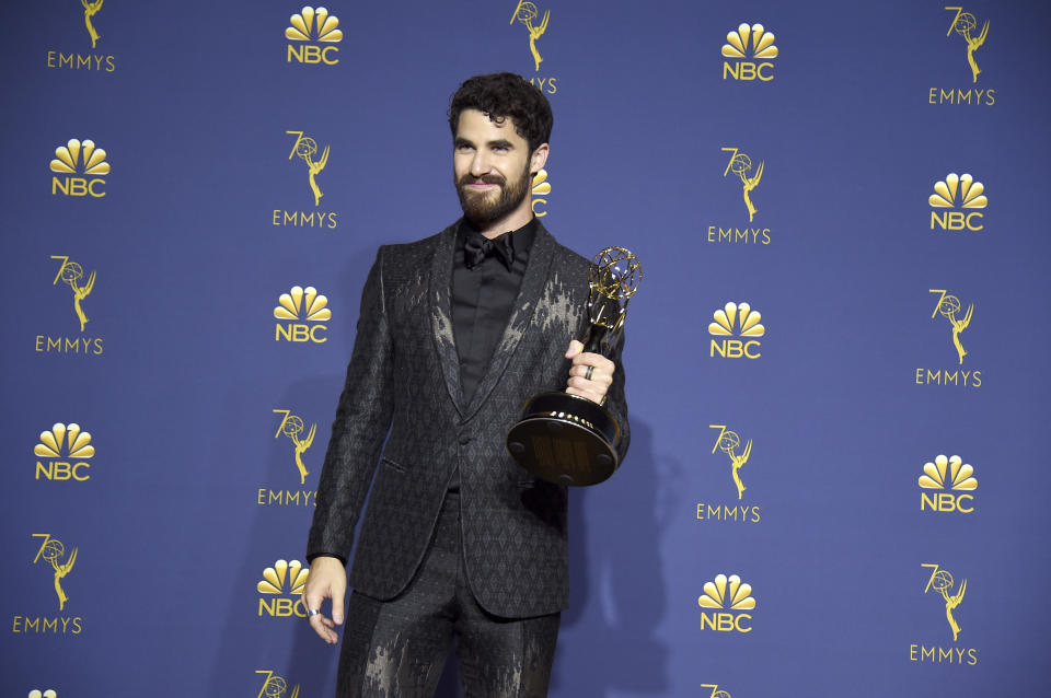 Darren Criss, winner of the award for outstanding lead actor in a limited series, movie or dramatic special for