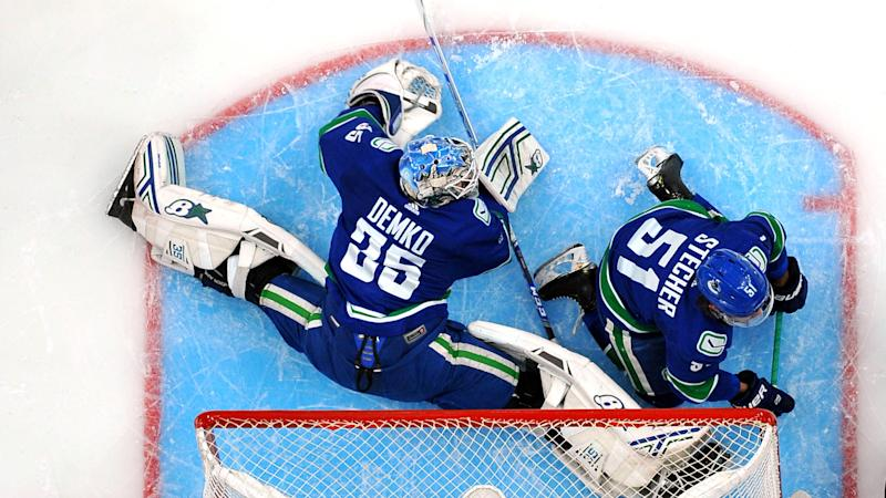 Thatcher Demko has been playing out of his mind. (Photo by Andy Devlin/NHLI via Getty Images)