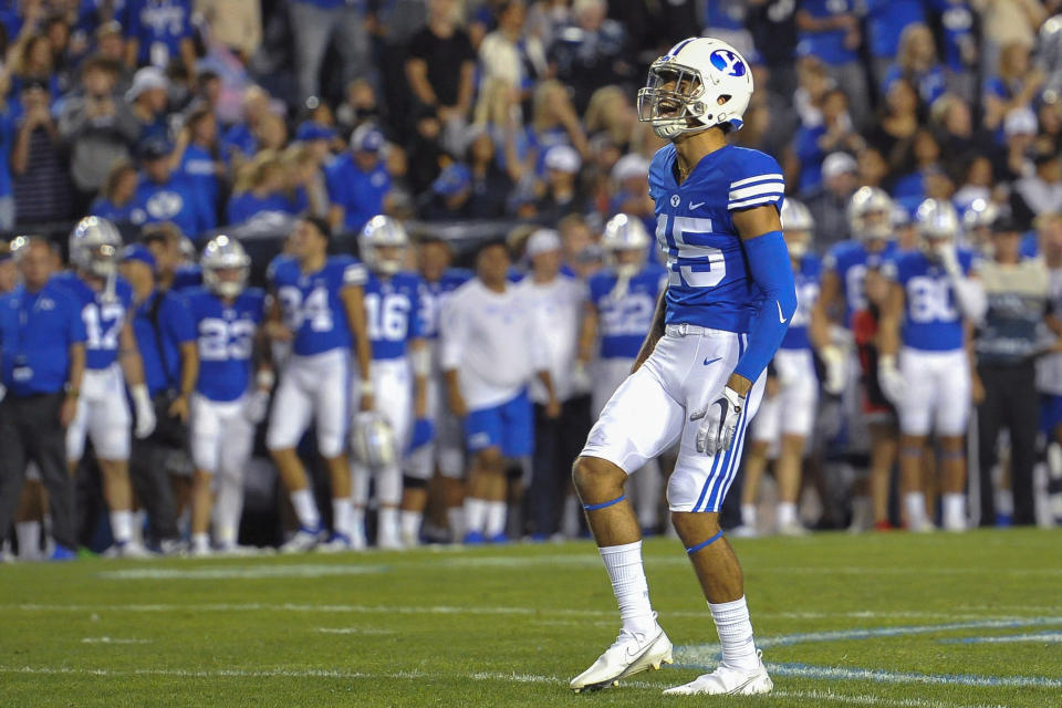 Brigham Young wide receiver Samson Nacua (45) dances during the second half of an NCAA college football game against Utah Saturday, Sept. 11, 2021, in Provo, Utah. (AP Photo/Alex Goodlett)