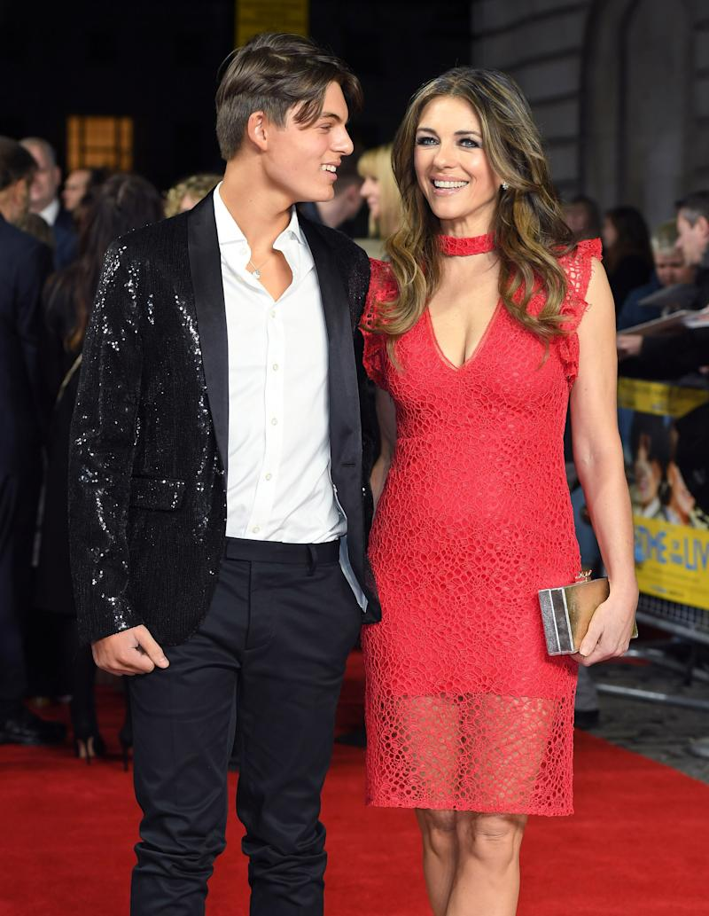 LONDON, ENGLAND - MARCH 08: Damian Hurley and Elizabeth Hurley attend the World Premiere of 'The Time Of Their Lives' at the Curzon Mayfair on March 8, 2017 in London, United Kingdom. (Photo by Karwai Tang/WireImage)