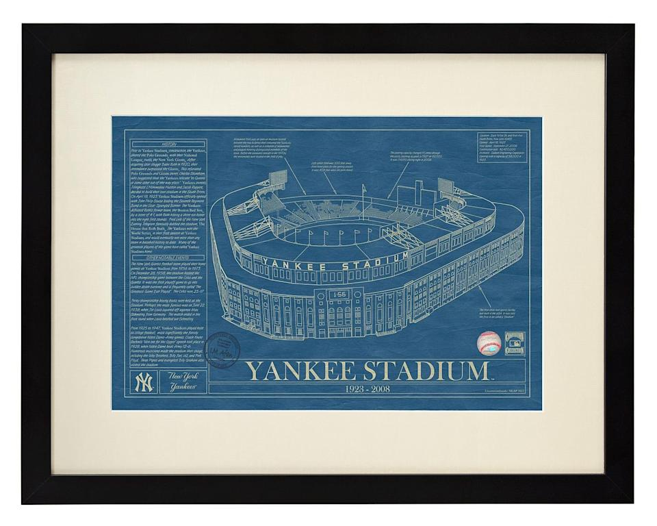 <p>Get your guy a print of his favorite stadium with this vintage <span>Ballpark Blueprint</span> ($185).</p>