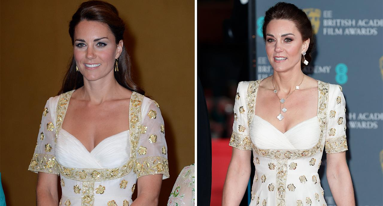 For this year's BAFTAs, Duchess Kate wore a white and gold Sarah Burton gown (right) she first wore for a state banquet in Malaysia in 2012. She had her sleeves altered for the occasion. (Getty Images)