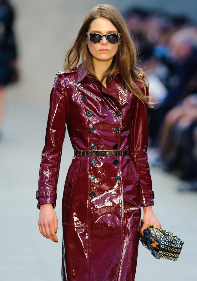 <b>LFW AW13: Burberry Prorsum</b><br><br>Wet-look fabric added a sexy twist to their classic trench.<br><br>© Getty