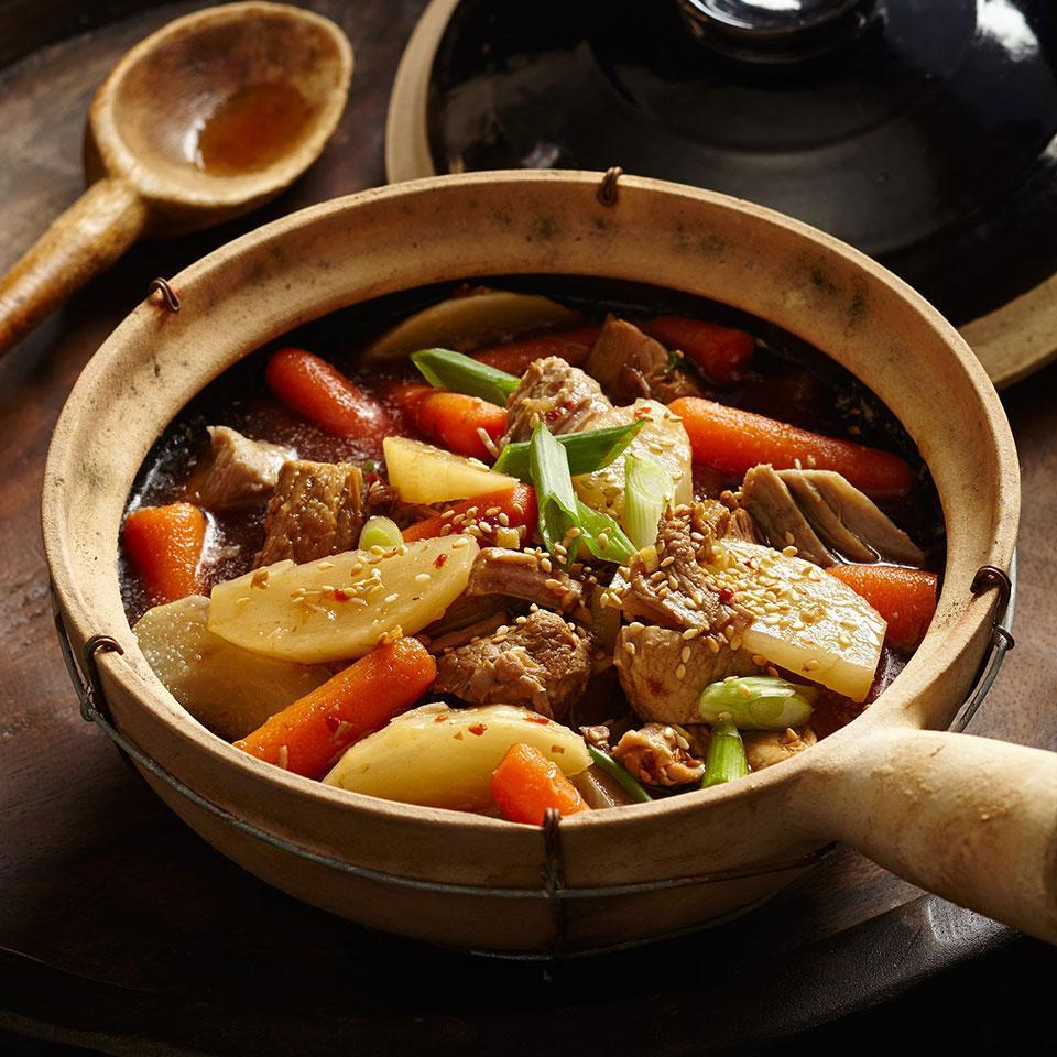 <p>The richly flavored red braises characteristic of Chinese cooking make warming winter meals that can be adapted to a slow cooker. Typically, seasonings of anise, cinnamon and ginger distinguish these dishes. Pork shoulder becomes meltingly tender during the slow braise. Serve over noodles or brown rice, with stir-fried napa cabbage.</p>