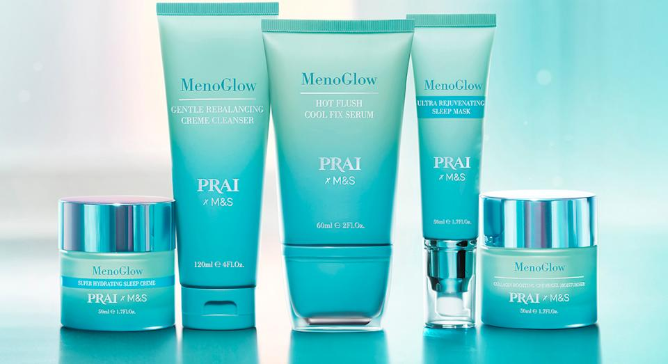 M&S has teamed up with PRAI to launch an exclusive MenoGlow skincare range targeting perimenopause and menopause skin concerns.  (M&S)