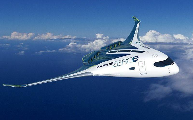 A concept 'blended wing' hydrogen aircraft that could seat up to 200 passengers - Airbus
