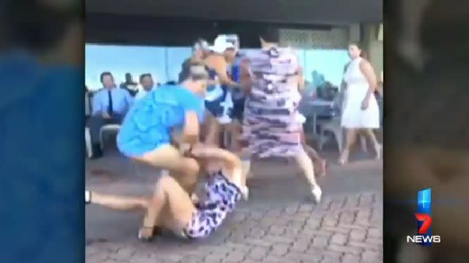 Footage shows the women dragging each other to the ground in the violent scrap. Photo: 7 News