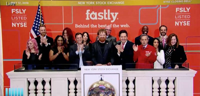 The Fastly team on stage at the New York Stock Exchange, preparing to rung the opening bell.
