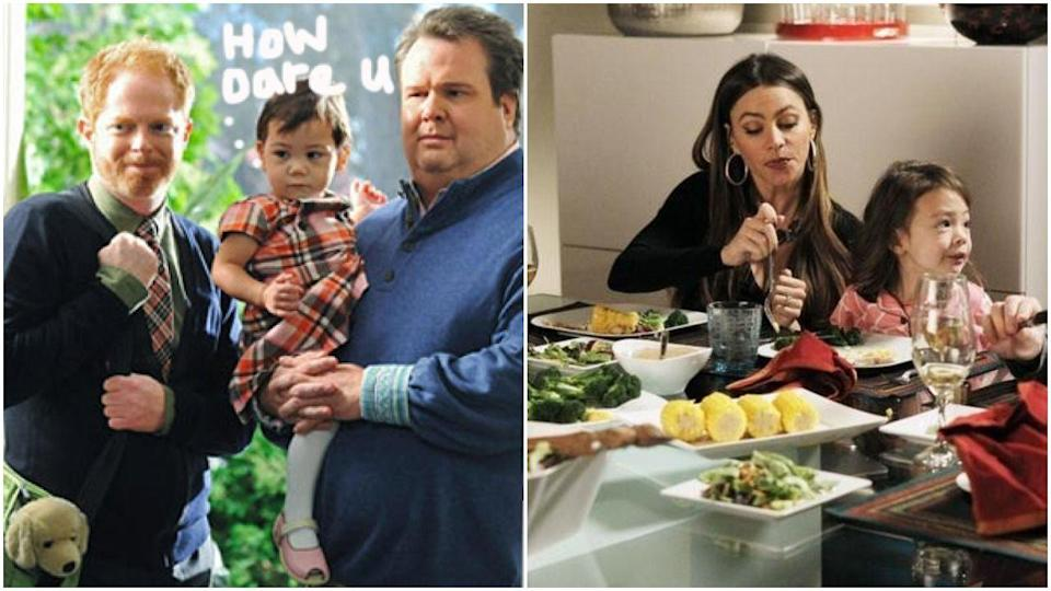"""<p>Lily was originally played by two very adorable twins named Jaden and Ella Hiller, who were replaced by Aubrey Anderson-Emmons. Before the recasting was official, executive producer Steve Levitan <a href=""""https://ew.com/article/2011/05/26/modern-family-finale/"""" rel=""""nofollow noopener"""" target=""""_blank"""" data-ylk=""""slk:said"""" class=""""link rapid-noclick-resp"""">said</a>, """"We all may determine that as gorgeous and sweet as Jaden and Ella are, it's not what they signed up to do or what they love. Maybe they don't love to be on a set and have to listen to us do a scene 10 times. Maybe they would be happier being kids. Honestly, we can't stress enough that it comes out of wanting to do what's best for them. We don't want them to be unhappy. If we feel it's not in their best interest to stay, we will replace them and ask that people forgive us for doing so.""""</p>"""