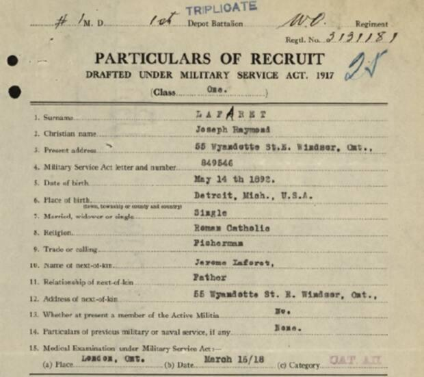 A recruitment record for Joseph Raymond Laforete, containing many details of his life.