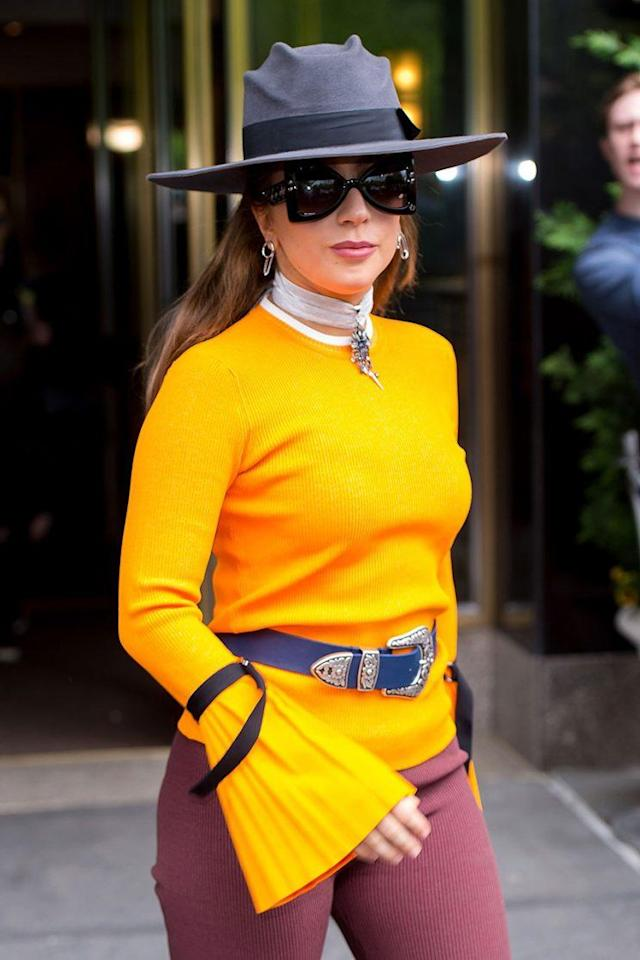 Musician Lady Gaga looked bright and spry in NYC in May.  (Photo: Gotham/GC Images)
