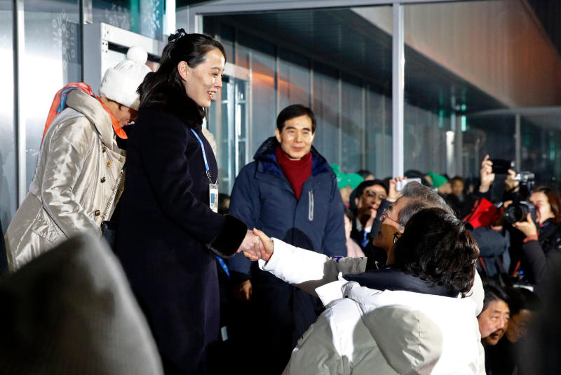 <p> FILE - In this Feb. 9, 2018 file photo, Kim Yo Jong, left, sister of North Korean leader Kim Jong Un, shakes hands with South Korean President Moon Jae-in at the opening ceremony of the 2018 Winter Olympics in Pyeongchang, South Korea. North Korea's abrupt diplomatic outreach in recent months comes after a flurry of weapons tests that marked 2017, including the underground detonation of an alleged thermonuclear warhead and three launches of developmental ICBMs designed to strike the U.S. mainland. Inter-Korean dialogue resumed after Kim in his New Year's speech proposed talks with the South to reduce animosities and for the North to participate in February's Winter Olympics in Pyongchang. North Korea sent hundreds of people to the games, including Kim's sister, who expressed her brother's desire to meet with Moon for a summit. South Korean officials later brokered a potential summit between Kim and Trump. (AP Photo/Patrick Semansky, Pool, File) </p>