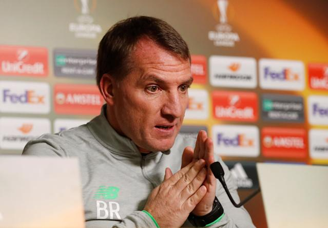 Soccer Football - Europa League - Celtic Press Conference - Lennoxtown Training Centre, Glasgow, Britain - February 14, 2018 Celtic manager Brendan Rodgers during the press conference Action Images via Reuters/Lee Smith