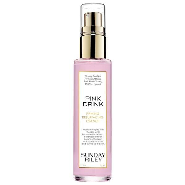 <p><span>Sunday Riley Pink Drink Firming Resurfacing Essence</span> ($48) smooths and tightens skin, plus fights the visible signs of aging thanks to pink yeast filtrate, fermented honey, and green tea.</p>