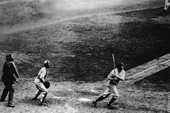 <p>Babe Ruth makes his 60th home run of the 1927 season at Yankee Stadium, a record that would remain unbroken for the next 34 years.</p>