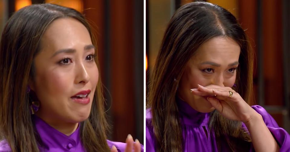 A composite image of MasterChef judge Melissa Leong becoming emotional while tasting a contestant's dish