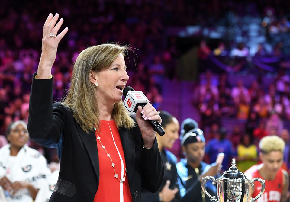 WNBA Commissioner Cathy Engelbert speaks on the court after the WNBA All-Star Game 2019 at the Mandalay Bay Events Center on July 27, 2019 in Las Vegas, Nevada. Team Wilson defeated Team Delle Donne 129-126. NOTE TO USER: User expressly acknowledges and agrees that, by downloading and or using this photograph, User is consenting to the terms and conditions of the Getty Images License Agreement.  (Photo by Ethan Miller/Getty Images)