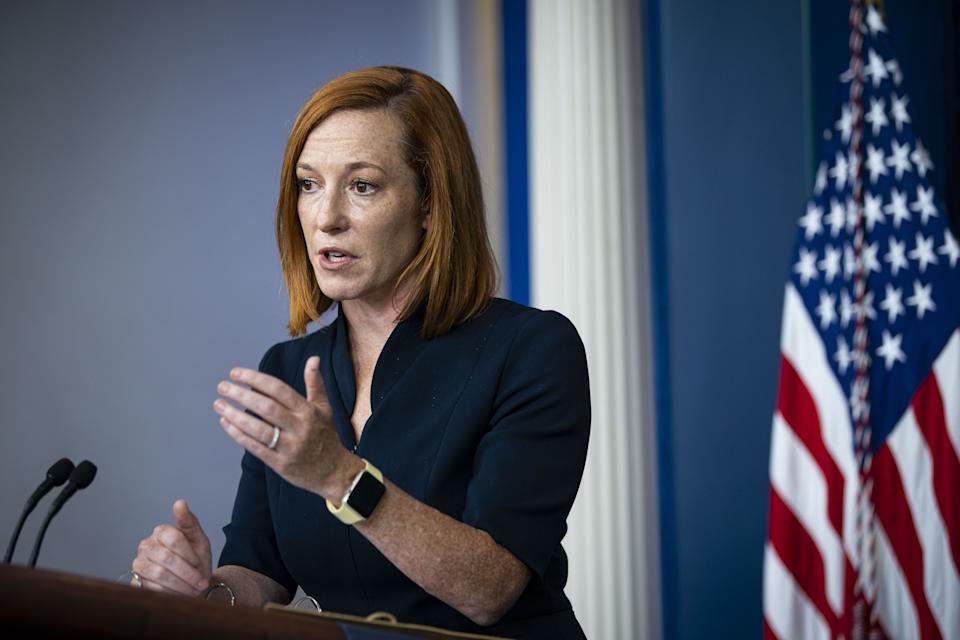 Jen Psaki, White House press secretary, speaks during a news conference in the James S. Brady Press Briefing Room at the White House in Washington, D.C., U.S., on Friday Sept. 24, 2021. (Al Drago/Bloomberg via Getty Images)