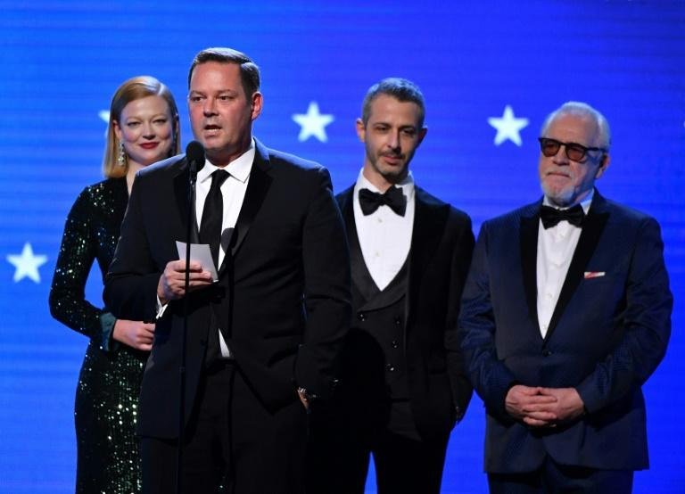 """(L-R) Sarah Snook, Kevin Messick, Jeremy Strong, and Brian Cox accept Best Drama Series for """"Succession,"""" expected to be a frontrunner for the best drama Emmy, during the Critics' Choice Awards on January 12, 2020 in Santa Monica, California"""