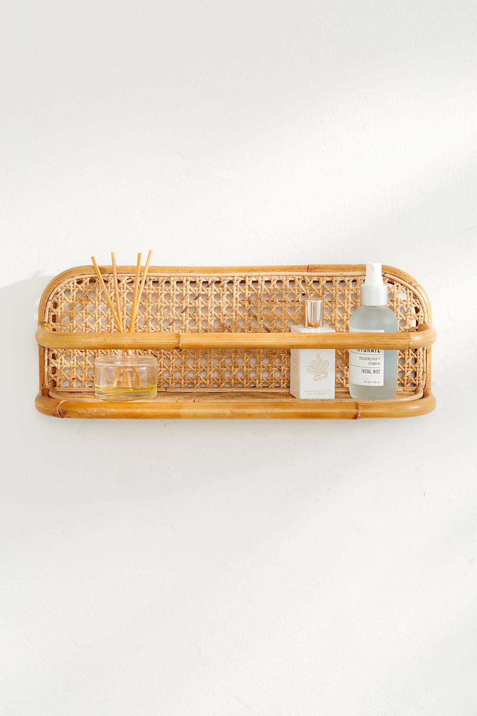 "Bamboo and rattan always make a space look more lived-in. This easy shelf is ideal for showing off your favorite trinkets. <br><br><strong><em><a href=""https://www.urbanoutfitters.com/furniture"" rel=""nofollow noopener"" target=""_blank"" data-ylk=""slk:Shop Urban Outfitters"" class=""link rapid-noclick-resp"">Shop Urban Outfitters</a></em></strong><br><br><strong>Urban Outfitters</strong> Marte Display Wall Shelf, $, available at <a href=""https://go.skimresources.com/?id=30283X879131&url=https%3A%2F%2Fwww.urbanoutfitters.com%2Fshop%2Fmarte-display-wall-shelf%3F"" rel=""nofollow noopener"" target=""_blank"" data-ylk=""slk:Urban Outfitters"" class=""link rapid-noclick-resp"">Urban Outfitters</a>"