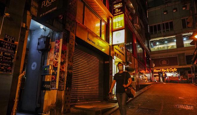An almost empty pub area at Lan Kwai Fong in Central, a popular nightlife destination in Hong Kong. Photo: Robert Ng