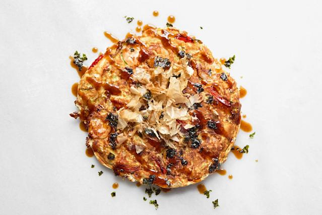 "<h1 class=""title"">Shrimp Okonomiyaki with Bonito Flakes - RECIPE</h1> <cite class=""credit"">Photo and Food Styling by Joseph De Leo</cite>"