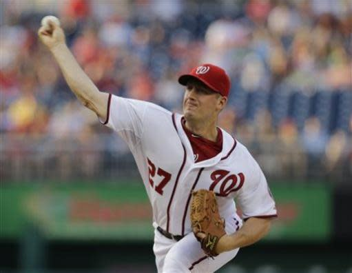 Washington Nationals starting pitcher Jordan Zimmermann throws during the first inning of a baseball game against the Colorado Rockies at Nationals Park Thursday, June 20, 2013, in Washington. (AP Photo/Alex Brandon)